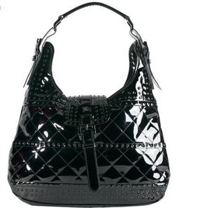 Burberry black patent leather hobo bag